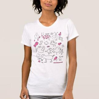T-shirt mignon de griffonnage avec le poster de