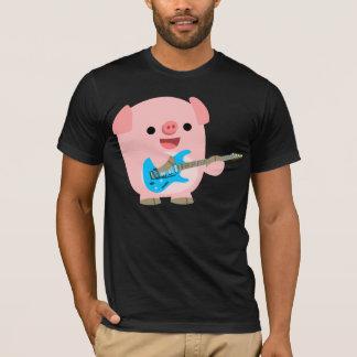 T-shirt mignon de porc de bande dessinée de Rockin