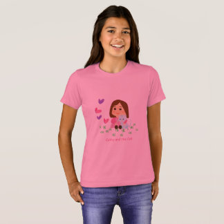 "T-shirt of ""Cathy and the Cat"" with butterflies"