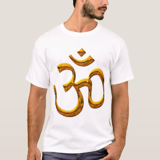 T-Shirt - OM, old gold effect / front - back