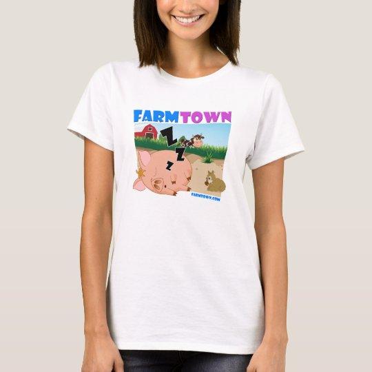 T-shirt porcin somnolent de ville de ferme