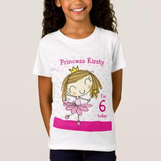 T-Shirt Princesse rose mignonne 6ème anniversaire de l'âge