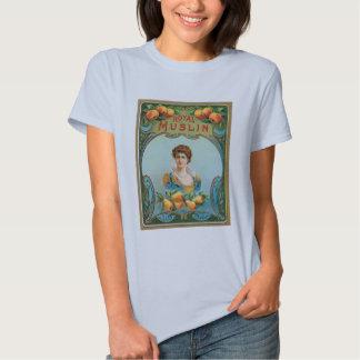 T-shirt royal de mousseline d'art d'étiquette de
