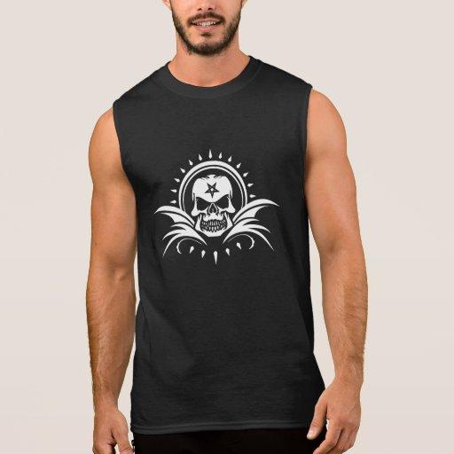 T-shirt sans manche de crâne gothique de pentagone