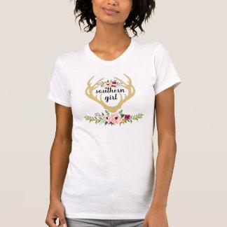 T-Shirt - southern girl buck horns