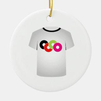T Shirt Template- Music CDs Round Ceramic Ornament