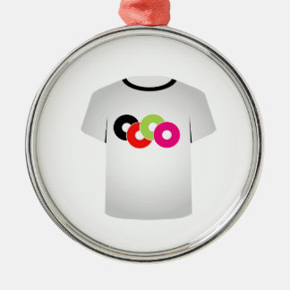 T Shirt Template- Music CDs Silver-Colored Round Ornament