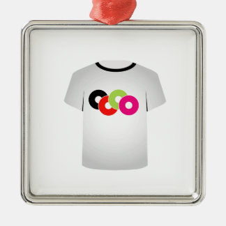 T Shirt Template- Music CDs Silver-Colored Square Ornament