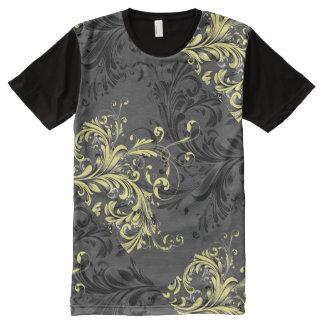 T-shirt Tout Imprimé Flourish floral noir et blanc