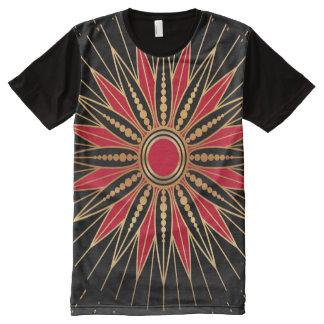 T-shirt Tout Imprimé L'Art déco Retro Star (red-gold-black)