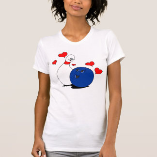 T Shirt-Valentine's Bowling Ball & Pin Lady,Girl T-Shirt