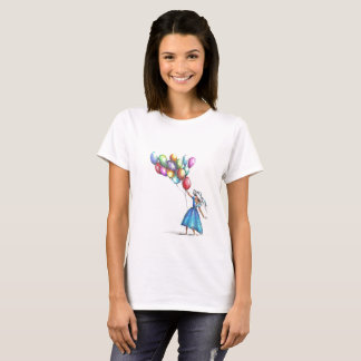T-shirt white woman with color drawing