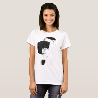 T-shirt white woman with drawing the coal