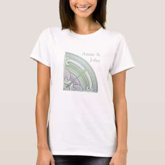 T-shirt with art nouveau design in lilac & mint
