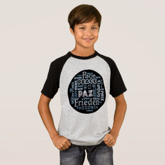 T shirt with chrome peace in multi languages