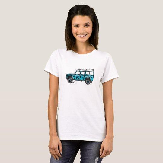 T-shirt with Defender in blauw-zwarte print