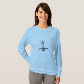 T-Shirt With Flowering Lavender Herb Front Back