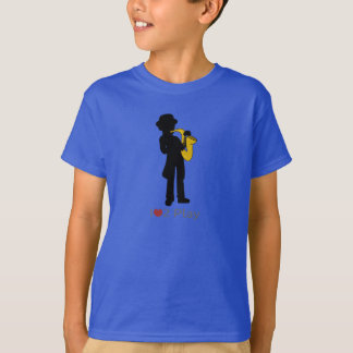 T-shirt with illustration of saxophone player