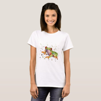 t-shirt with multicolored handpainted frog