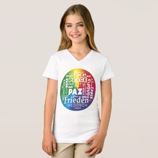 T shirt with rainbow peace in multi languages