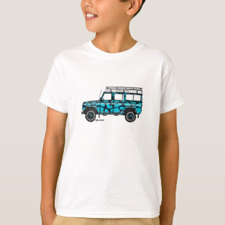 T-shirt with tough Defender in blue giraffe prints