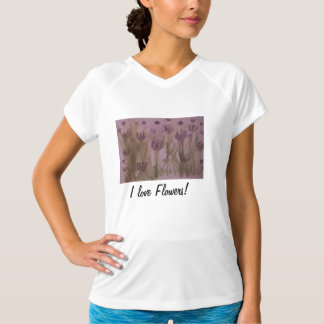 T-shirt with watercolor of purple flowers