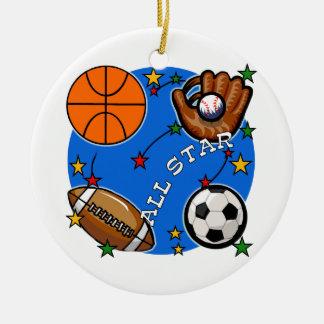 T-shirts et cadeaux de sports d'All Star Ornement Rond En Céramique