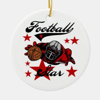 T-shirts et cadeaux d'étoile de football ornement rond en céramique