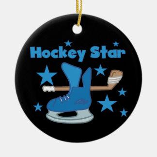 T-shirts et cadeaux d'étoile d'hockey ornement rond en céramique