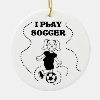 T-shirts et cadeaux du football de jeu de la fille ornement rond en céramique