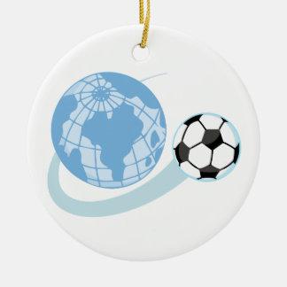T-shirts et cadeaux du football du monde ornement rond en céramique