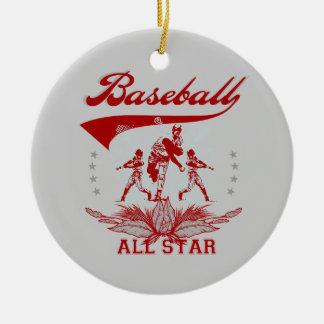 T-shirts et cadeaux rouges d'All Star de base-ball Ornement Rond En Céramique
