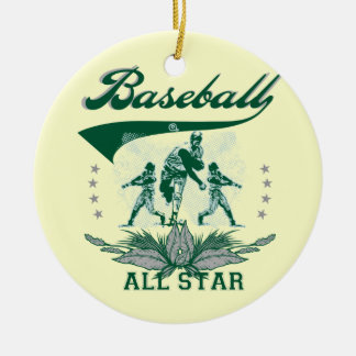 T-shirts et cadeaux verts d'All Star de base-ball Ornement Rond En Céramique