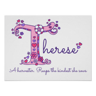 T Therese initial doodle art name meaning Poster