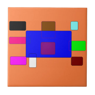 Tab – Colorful Abstract Art on Orange Background Tile