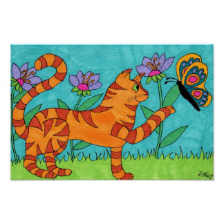 Tabby Cat and Butterfly Folk Art Poster