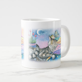 Tabby Cat and Fairy Large Coffee Mug