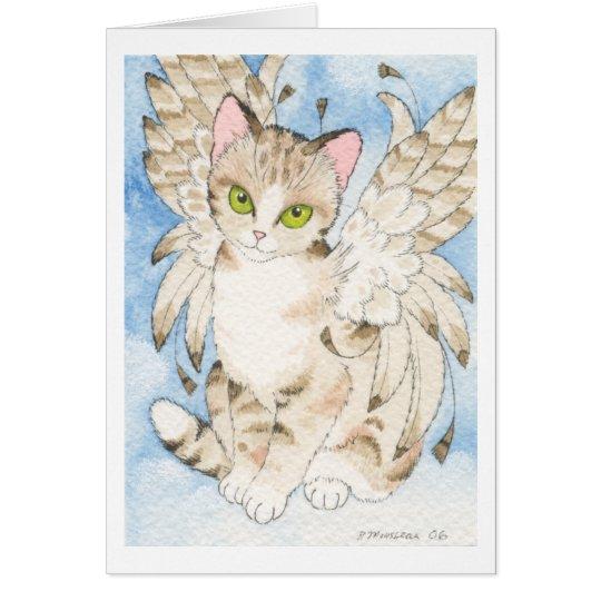 Tabby cat angel customizable notecard