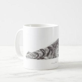 Tabby cat art, cat mug, mug for cat lovers.