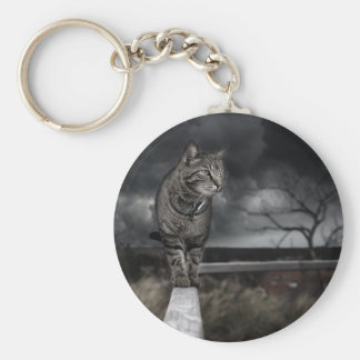 Tabby Cat Basic Round Button Keychain