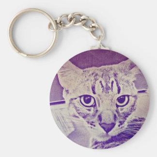Tabby Cat Basic Round Button Keychain