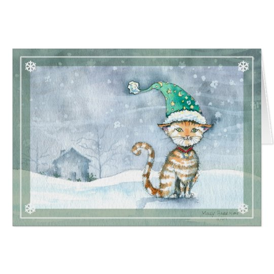 Tabby Cat Christmas Holiday Card by Molly Harrison