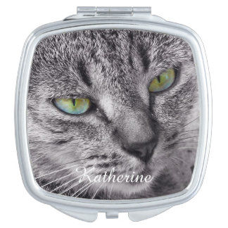 Tabby cat compact mirror