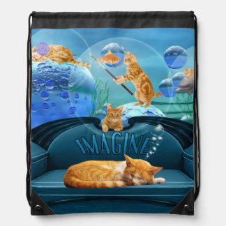 Tabby Cat Dreams Underwater Fantasy Drawstring Bag