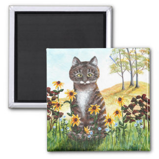 Tabby Cat Fall Landscape Leaves Creationarts Magnet