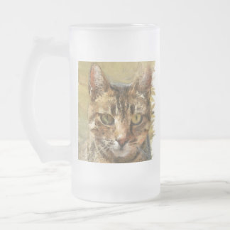 Tabby Cat Frosted Glass Beer Mug
