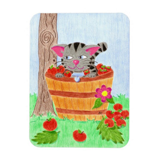 Tabby cat in an apple basket premium magnet