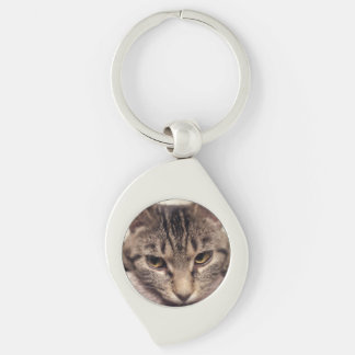 Tabby Cat-Instagram by Shirley Taylor Silver-Colored Swirl Keychain