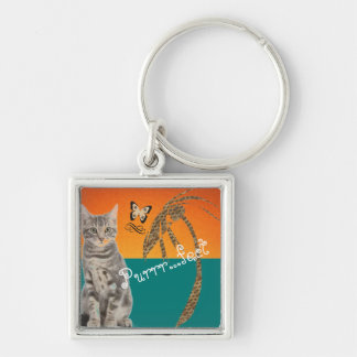 Tabby  Cat  Keyring Silver-Colored Square Keychain