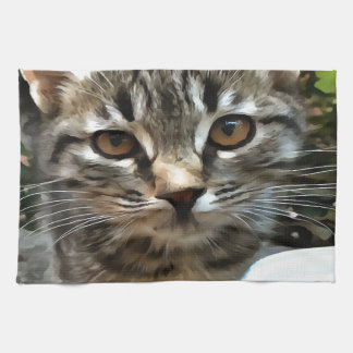 Tabby Cat Kitten Making Eye Contact Kitchen Towel